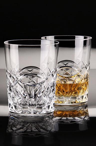 Cashs Crystal Celtic Ring DOF Single Malt Whiskey Glass, Pair