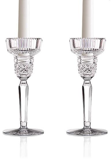 "Cashs Crystal Cooper 7"" Candlesticks, Pair"
