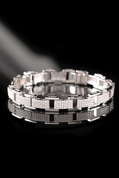 Cashs Sterling Silver Crystal Pave Cubist Link Soft Bracelet