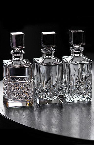 Cashs Crystal Single Malt Whiskey Square Decanters, Set of Three