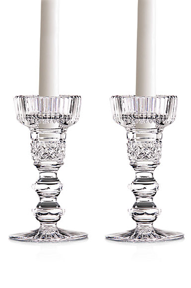 "Cashs Crystal Double Knob 6"" Candlesticks, Pair"