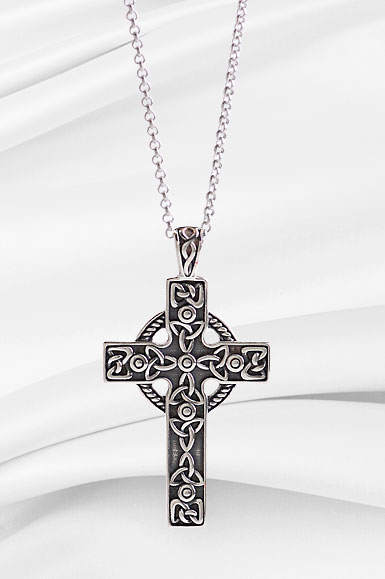 Cashs Sterling Silver Filigree Irish Celtic Cross Pendant Necklace
