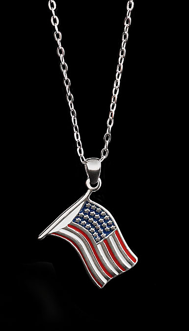 Cashs Sterling Silver US Flag Pendant Necklace