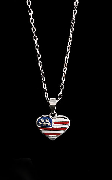 Cashs Sterling Silver Brave Heart Flag Necklace