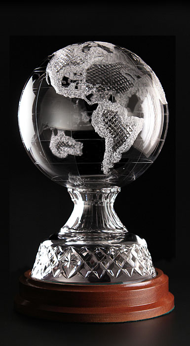 Cashs Crystal Art Collection, World Globe With Base, Limited Edition