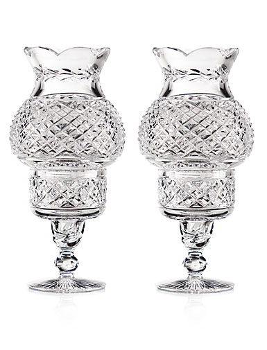 Cashs Crystal Art Collection Hurricane Candleholders, Pair