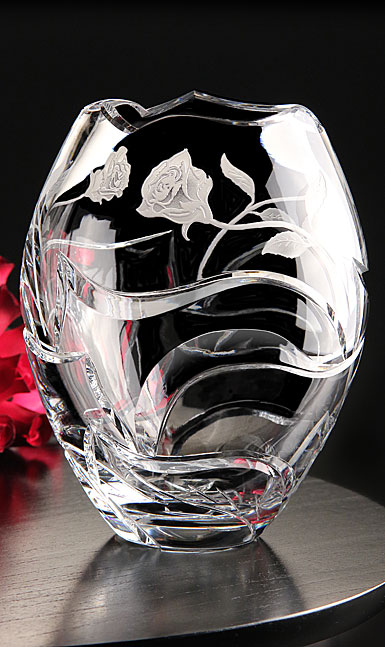 Cashs Crystal Art Collection Irish Rose Vase, Limited Edition