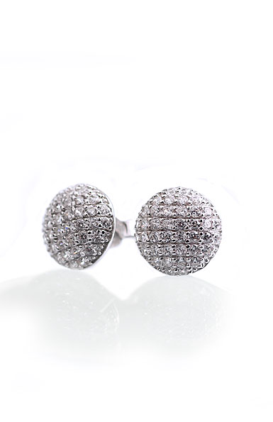 Cashs Crystal Pave Sterling Silver Button Pierced Earrings, Pair