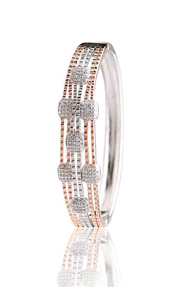 Cashs Crystal Pave Sterling Silver and Rose Gold Modern Hinged Bracelet