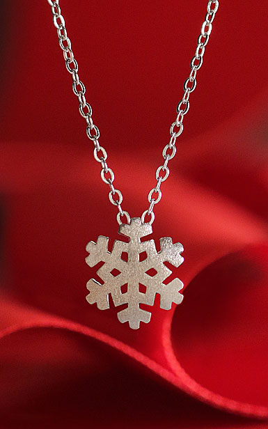 Cashs Sterling Silver Modern Snowflake Pendant Necklace, Small