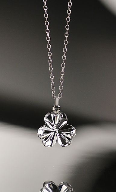 Cashs Crystal Shamrock Pendant Necklace, Small
