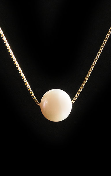 Cashs White Luster, Large Perfect Round Pearl Necklace, Snake Square Gold Chain
