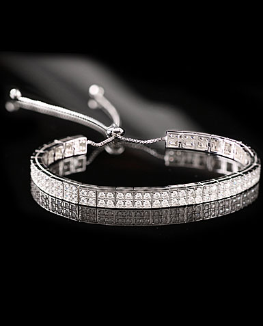 Cashs Sterling Silver Crystal Pave Pull Up Adjustable Soft Bracelet