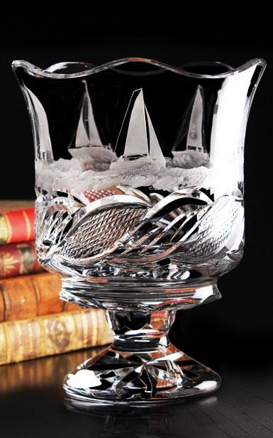 Cashs Crystal Art Collection Sailing Series Regatta Vase, Limited Edition