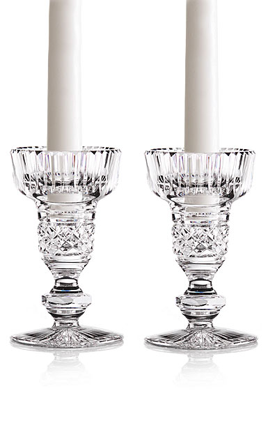 "Cashs Crystal Single Knob 5"" Candlesticks, Pair"