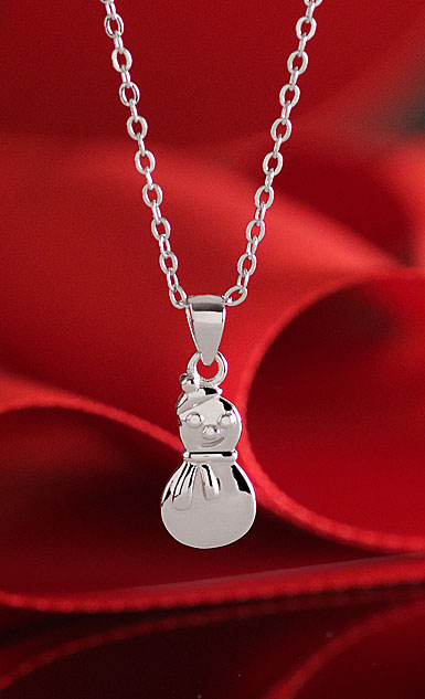 Cashs Sterling Silver Snowman Christmas Necklace