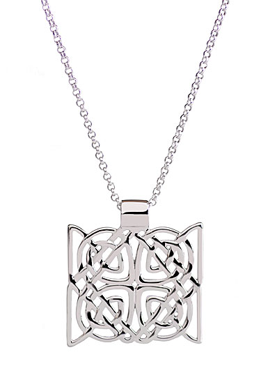 Cashs Sterling Silver Trinity Knot Square Pendant Necklace