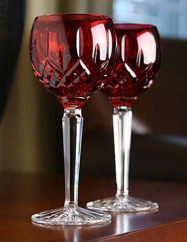 Waterford Lismore Crimson Hock Wine, Pair