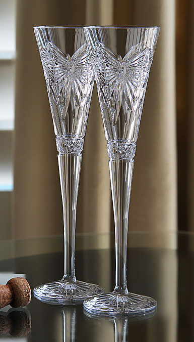 Waterford Millennium Decade Happiness Toasting Flutes Pair