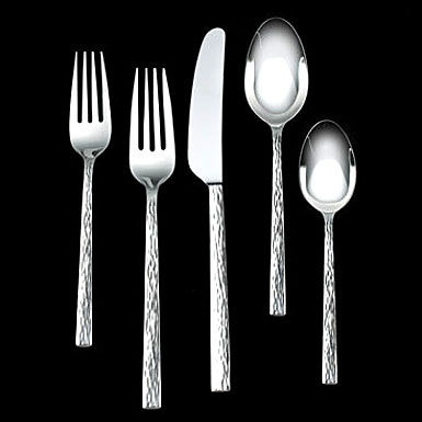 Vera Wang Wedgwood Hammered Stainless Flatware, 5 Piece Place Setting
