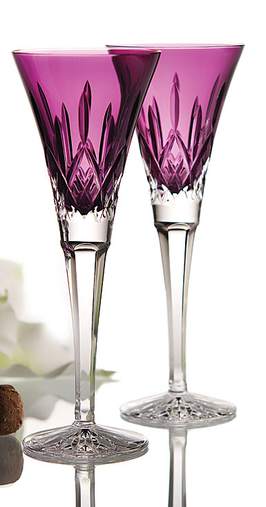 Waterford Lismore Amethyst Toasting Flutes Pair