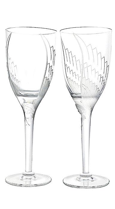 Lalique Angel Champagne Flutes, Pair