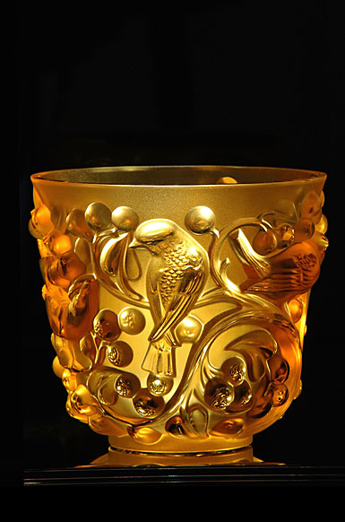 Lalique Avallon Vase, Amber