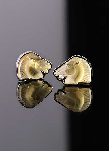 Lalique Horse Cufflinks Crystal and Stainless Steel Pair, Amber