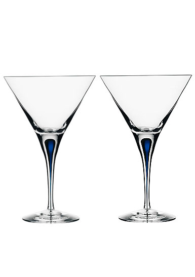 Orrefors Intermezzo Blue Martini, Pair