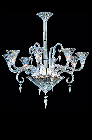 Baccarat Mille Nuits 8 Light Chandelier, With Lighted Bowl For Hurricane