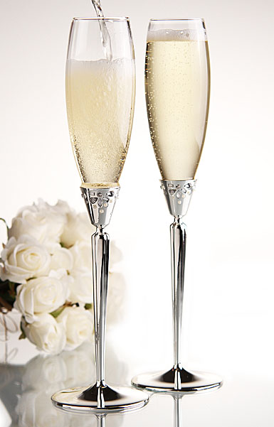 Monique Lhuillier Waterford Modern Love Silver Toasting Flutes, Pair