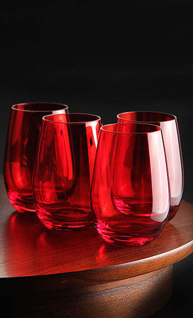 Marquis by waterford vintage red stemless wine set of 4 - Waterford colored wine glasses ...