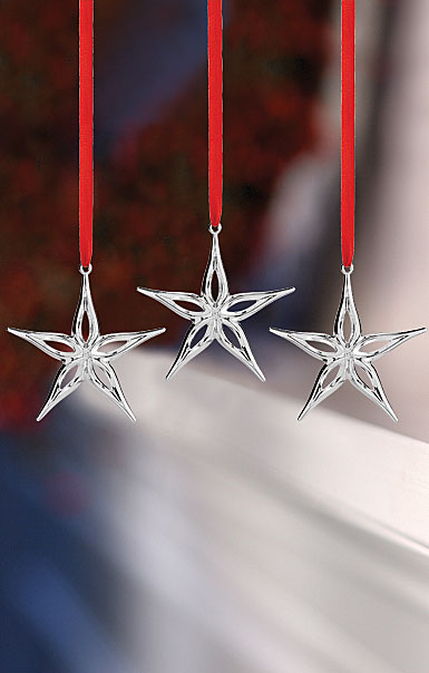 Nambe Mini Classic Modern Star Ornament, Set of 3