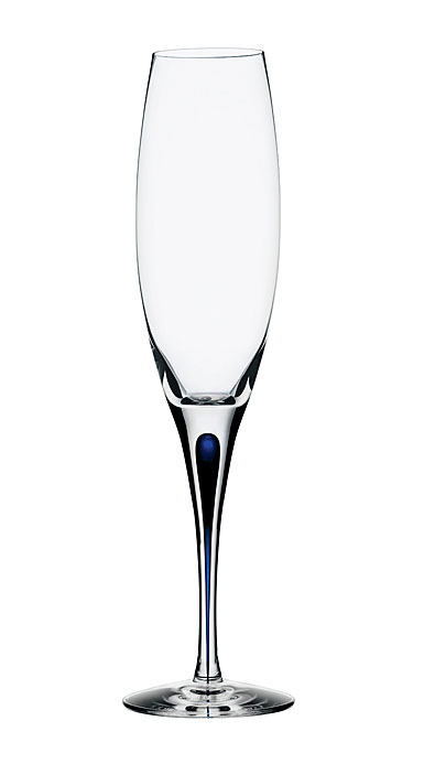 Orrefors Intermezzo Blue Champagne Flute, Single