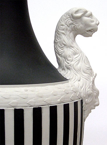 Wedgwood Panther Vase Blck On White 16 1/2""