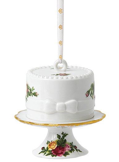 Royal Albert 2017 Old Country Roses Cake with Cake Stand Ornament