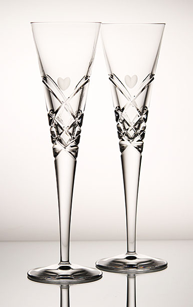 Reed and Barton Heart Collection Flutes, Pair