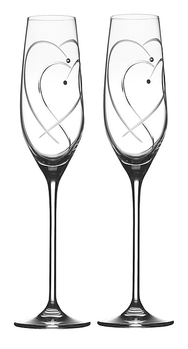 Royal Doulton Two Hearts Entwined Flutes, Pair