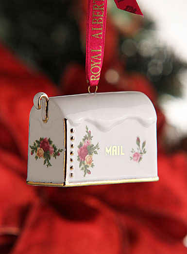 Royal Albert Old Country Roses Figural Holiday Mailbox Ornament
