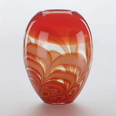 "Waterford Evolution Red and Amber Ginger 11"" Vase"