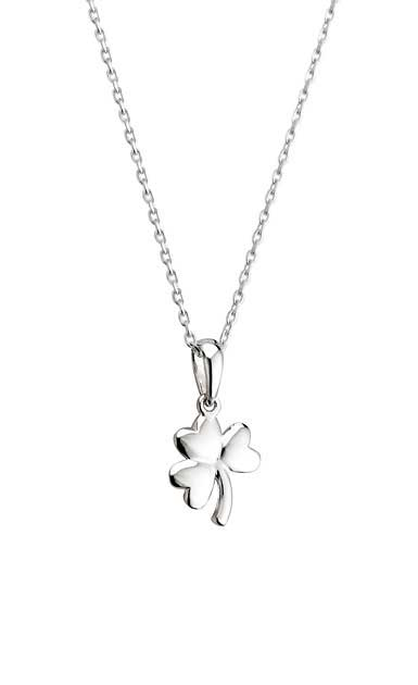 Cashs Sterling Silver Small Shamrock Pendant Necklace