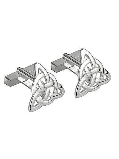 Cashs Rhodium Triangle Celtic Knot Cufflinks Pair