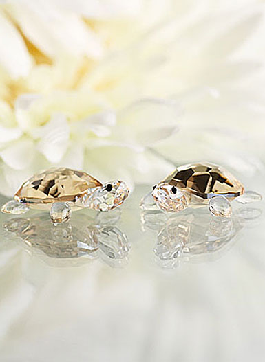 Swarovski Baby Tortoises, Crystal Golden Shadow, Set of Two