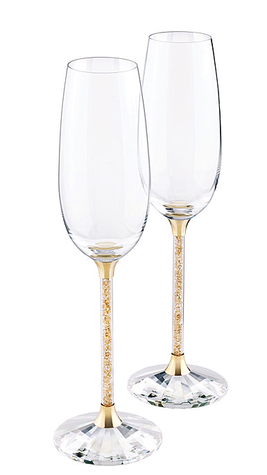 Swarovski Crystalline Golden Shadow Toasting Flutes, Pair