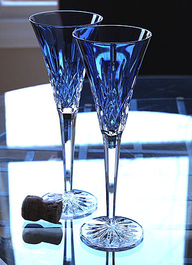 Waterford lismore sapphire toasting flute pair - Waterford colored wine glasses ...