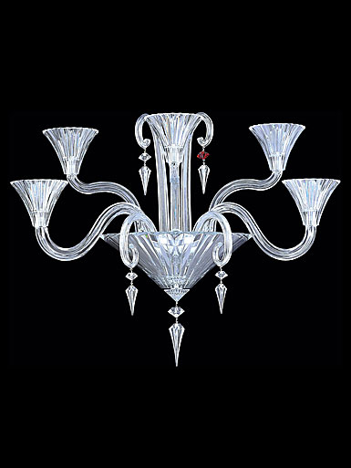 Baccarat Mille Nuits 5 Light Wall Sconce With Hurricane Shade Holders