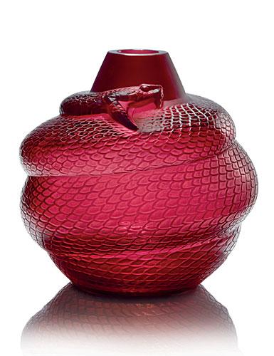 "Lalique Red Serpent 9"" Vase"
