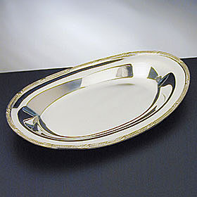 "Waterford Silver Beaded Acanthus 12"" Bread Tray"