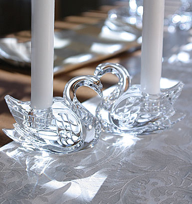 Waterford Swan Candleholders, Pair