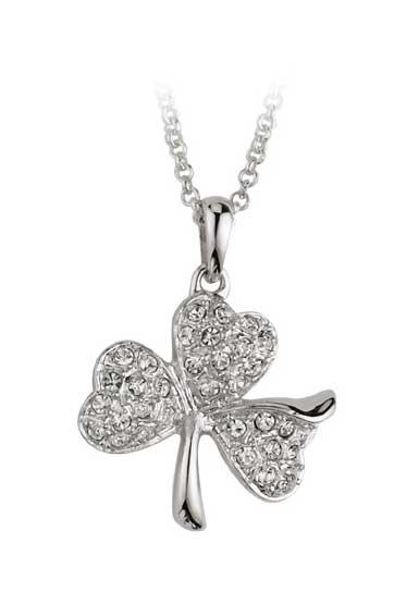 Cashs Crystal Pave and Rhodium Shamrock Pendant Necklace